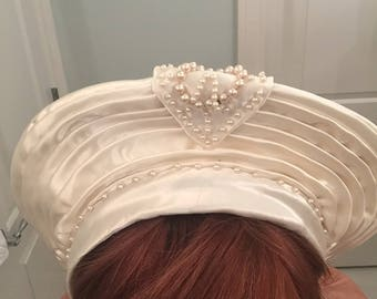 Rare Pleated Satin and Pearl Beaded 1930's Bridal Crown
