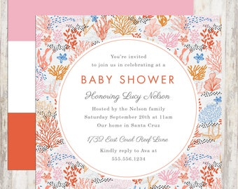 Baby Shower Invitation, Bridal Shower Invitation, Coral Reef Baby Shower, Shower Invite, Colorful Invite, Printable Invite