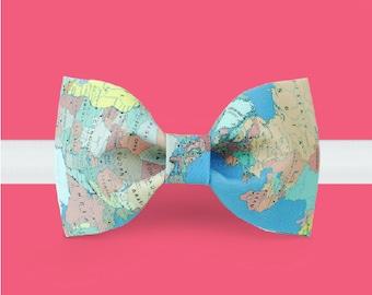 Map Bow Tie- World map bowtie -geography bowtie - travel bowtie - world traveler gift