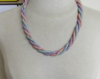Triple Strand Pastel Bead Twist Necklace
