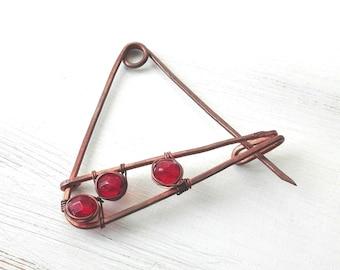 Wire shawl pin copper, copper shawl pin, geometric brooch, copper brooch, geometric pin, wire pin, brooch pin for women, metal geometric pin