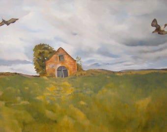 Landscape of the Cevennes, Original Oil Painting by Anne Zamo