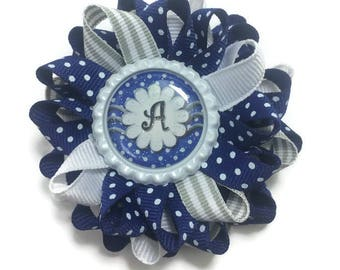 Blue & Silver Initial Hair Bow, Personalized Bow, Loopy Hair Bow, Bottle Cap Hair Bow, Handmade Hair Bow, No Slip Hair Bow, Gifts for Her