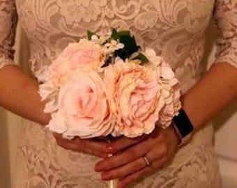 Cream and Pink Vintage Flower, Bundle , Bridal, Bridesmaid, Silk, Artificial , Natural Look, Rustic, Keepsake.