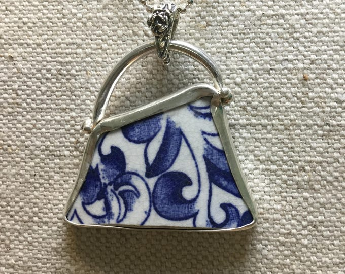 Sterling silver and English seaglass pottery necklace