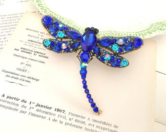 Blue Dragonfly Brooch.Royal Blue Dragonfly Brooch.Dragonfly Rhinestone Brooch.Broach.Vintage Style.Wedding Accessory.Large Brooch.Pin