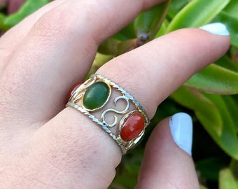 Vintage Green and Orange Chalcedony Ring