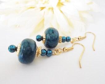 Green Jasper Earrings, Beaded Dangle Earrings, Boho Jewelry, Teal Earrings, Bohemian Earrings, Fall Wedding Jewelry Bridesmaid Gift for Her