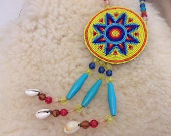 Vintage hippie necklace pendant beaded shells funky large talisman festival