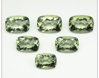 Lovely Green Amethyst/Prasiolite Checkerboard Cut Calibrated Cushion Shapes in Sizes 16x12, 18x13 & 20x15 mm.