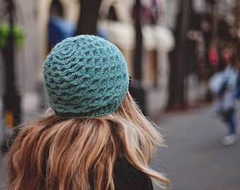 Crochet hat PATTERN - Alpaca Beanie (sizes baby to adult) Instant download