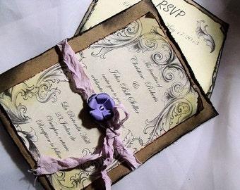 Lavender / purple Wedding Invitation Suite/ Vintage inspired
