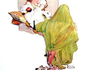 The Diary - Large Norman Rockwell Print - 1979 Vintage Book Page - Saturday Evening Post Cover - 14 x 12
