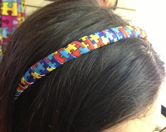 Colorful Autism Awareness hairband headband.  Puzzle piece headband.