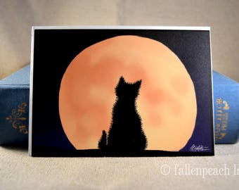 Black Cat Faces Moon Greeting Card - Sammy and the Harvest Moon Illustration