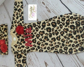 Personalize Leopard Print and Red Baby Layette and Hat Set, Baby Girl Gown, Newborn Girl Bring Home Outfit, infant gown, hospital outfit