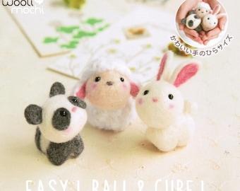 Cutie Trio - Panda, Sheep, Bunny Needle Felting Kit