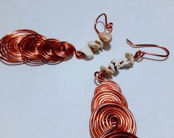 White Turquoise Earrings- Handmade Earrings- Copper Wire- Copper Jewelry