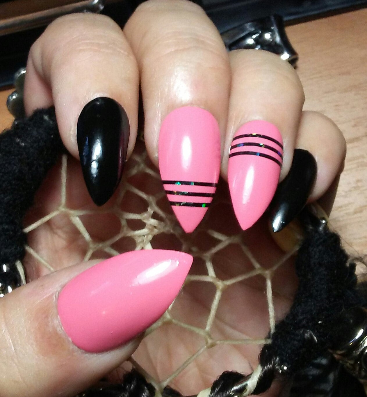 Stiletto Nails Pink & Black, Holographic Striping Tape, Acrylic ...
