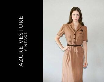 1940s Day Dress. 40s Tan Dress, Uniform Retro Mid Century Dress, with Peplum and Belt. Small