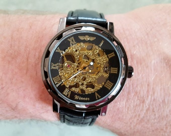 Mechanical Skeleton Watch, Hand-winding Wrist Black-Gold tone Mens Watch Steampunk Watch Vintage style