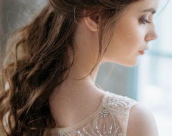 Leaf Hair Comb, Wedding Headpiece, Grecian Head piece, Headpiece, Rhinestones Headpiece, Wedding Hair Accessories,Gold leaf Headpiece- ERICA