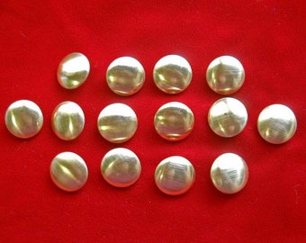 14 Gold Tone Metal Shank Dome Buttons for Renaisance Costume