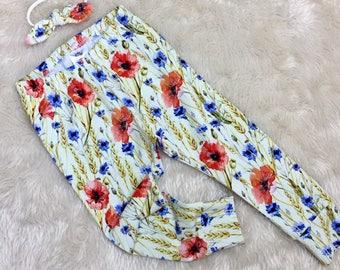 Flower Leggings or Harem Trousers - Handmade - Baby Leggings - Toddler Leggings - Wild FLowers - Meadow - Boy - Girl - Toddler