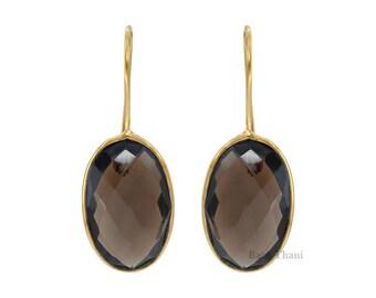 Smoky Quartz Earrings, Gift earring, Bridal Earring, Smoky Quartz Faceted Oval 12x20mm Gold Plated Sterling Silver Dangle Earrings - #1486