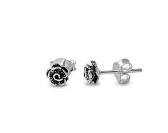 Rose Sterling Silver Stud Earrings 5mm - Sterling Silver Rose Flower Clower Post Earrings