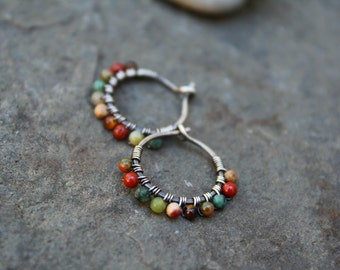 Sterling Silver Hoops, 1/2 inch hoops, Desert Calico, Oxidized Silver, Very Small Hoops, Wire Wrapped, Stone Hoop, Earth Tones, Boho Earring