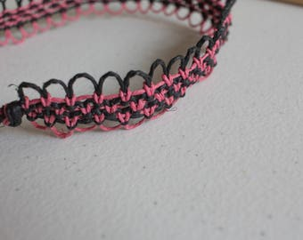 15 inch pink and black hemp necklace