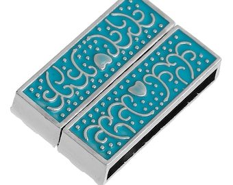 1 blue flower enamel 32x22mm silver magnetic clasp