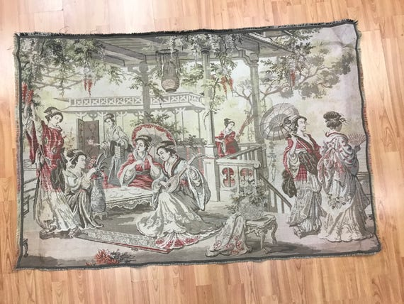 """3'2"""" x 4'8"""" French Tapestry - 1980s - Chinese Gathering - Hand Made"""