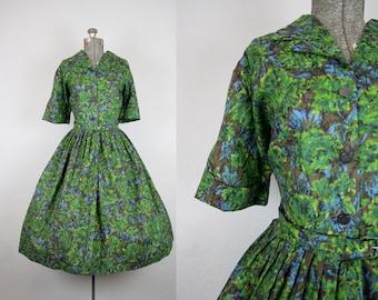 1950's Green Rose Print Cotton Shirtwaist Day Dress / Size XXLarge Volup