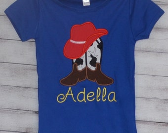 Personalized Cowgirl Boots & Hat Applique Shirt or Bodysuit Girl