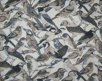Natural Birds Allover Print Pure Cotton Fabric from Timeless Treasures--By the Yard