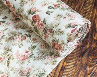 Linen portier, with a digital seal. natural flax, linen cloth