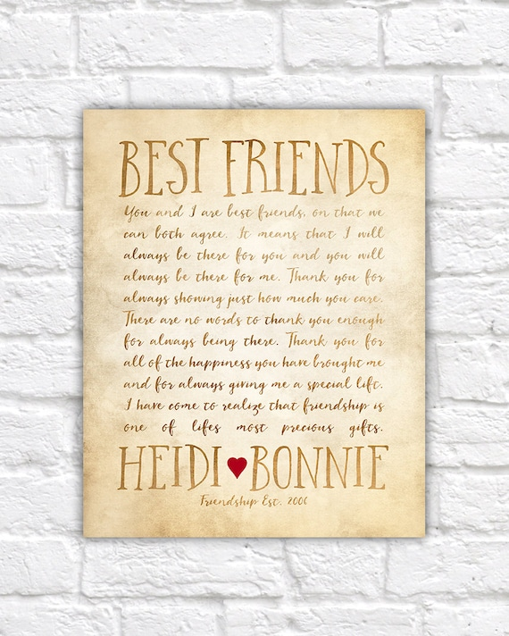 best friend letters custom letter for best friend art friendship poem birthday 1089