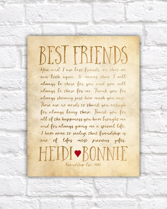 Custom Letter For Best Friend Art Friendship Poem Birthday