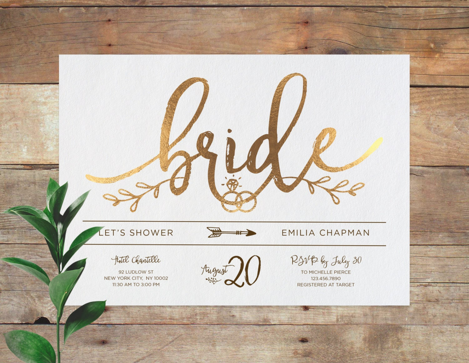 Emilia bridal printable bridal shower invitation shower for Wedding shower announcements