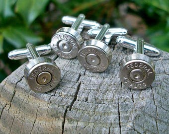 Wedding cuff links Bullet Shell Cufflinks, Wedding Special 7 matching pairs silver Federal .45 Auto cuff links