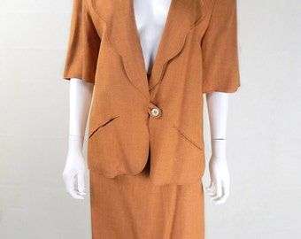 Original Vintage Chloe Golden Caramel Slubbed Linen Skirt Suit UK Size 14/16