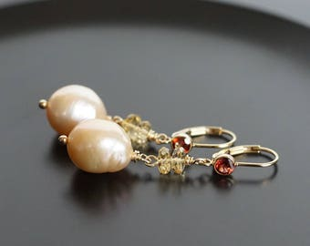 Baroque pearl drop earrings, Citrine earrings, pearl dangle earrings, bridal earrings, pearl jewelry, gold fill CZ lever back ear wires