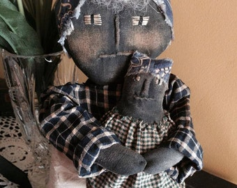 MADE TO ORDER: Handmade Primitive Mommy and her Baby Doll