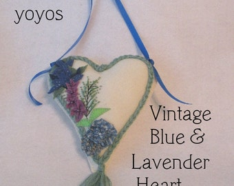 LAVENDER, BLUEBELLS,  HEART, Embellished Felt, Door Hanger, Pincushion, Ornament, Home Décor, Hostess Gift, Birthday, Christmas, Mothers Day