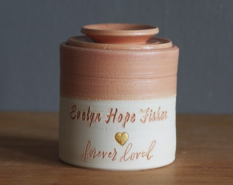 infant urn. straight shaped urn with custom name and date. modern simple urn for ashes. funerary urn. rhubarb pink on porcelain f3 font