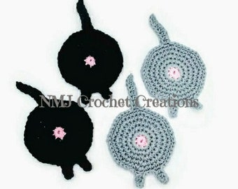 Cat Butt Coasters - Drink Coasters - Crochet - Coasters - Butt Coasters - Gag Gift - Cat Lover -