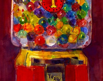 Gumball Machine  Art Print from Original Watercolor  - Toys  - Childroom - Classic