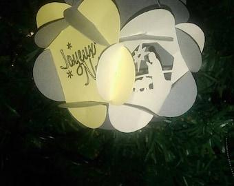 Nativity flower ball ornaments